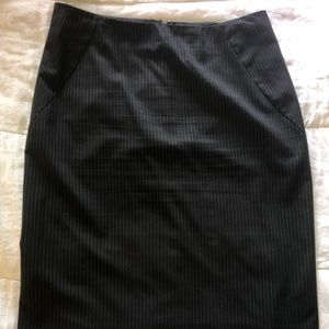 New York & Company Black Pinstriped Pencil Skirt